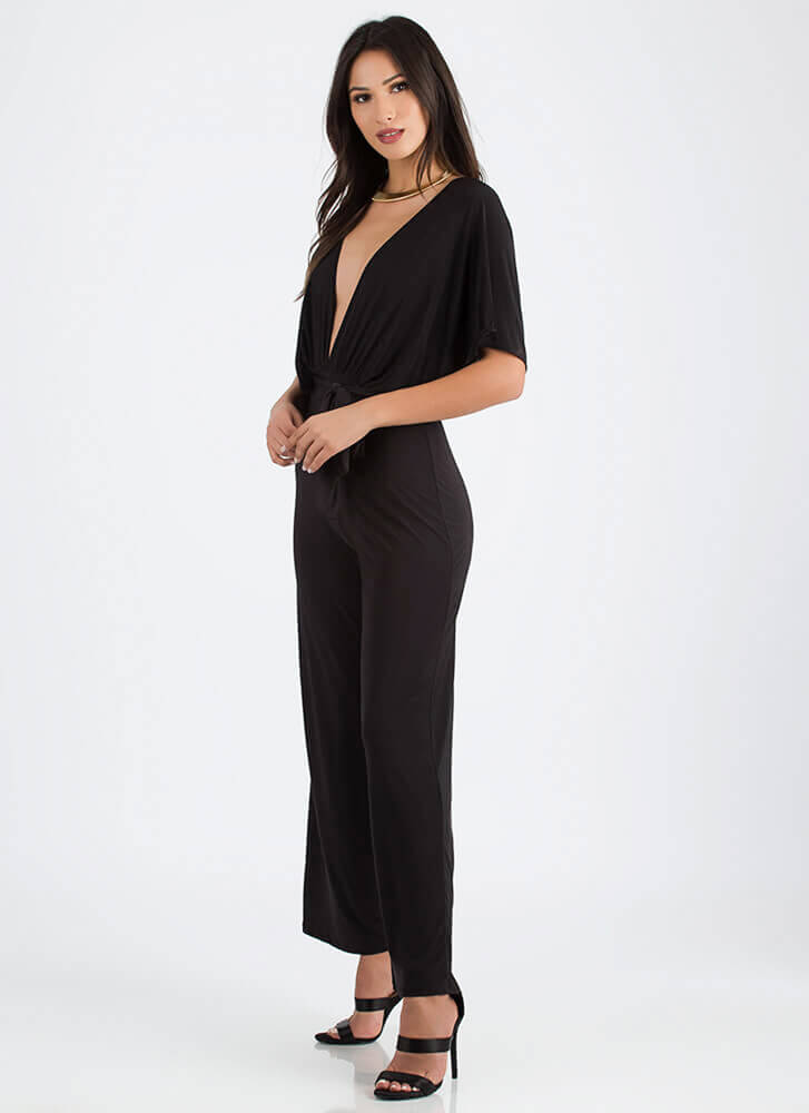 Oh My Goddess Plunging Palazzo Jumpsuit BLACK (You Saved $20)