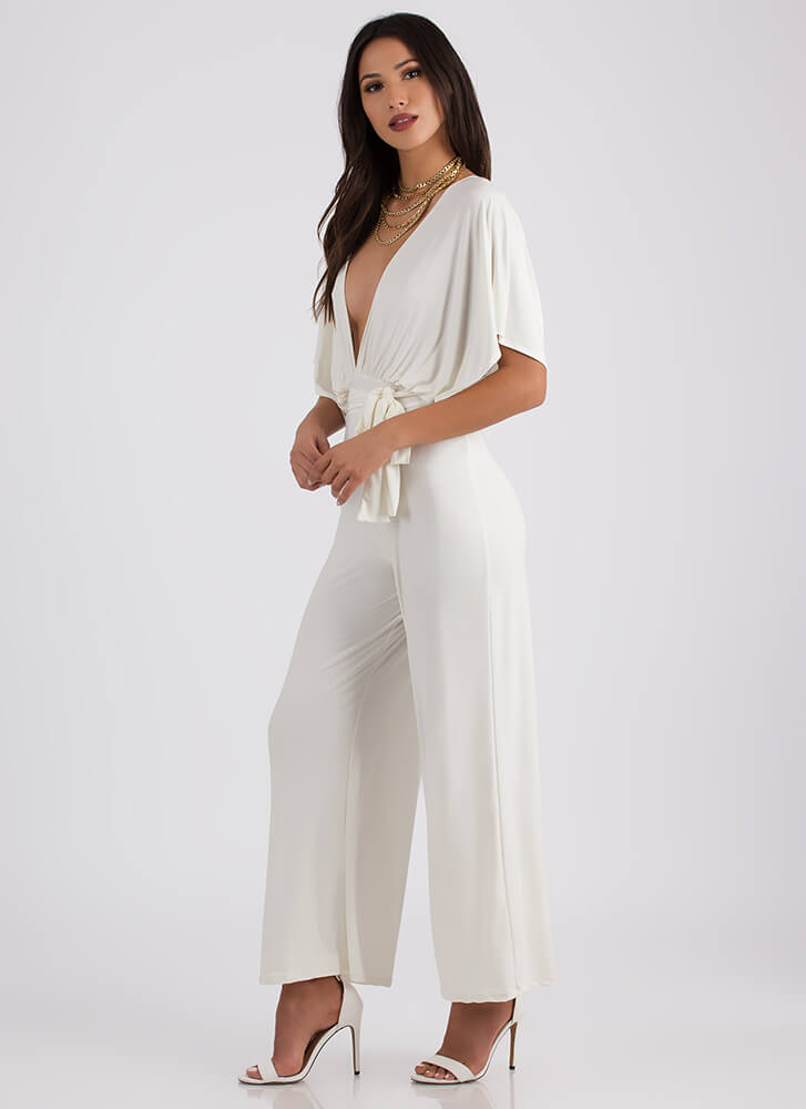 Oh My Goddess Plunging Palazzo Jumpsuit IVORY (You Saved $20)