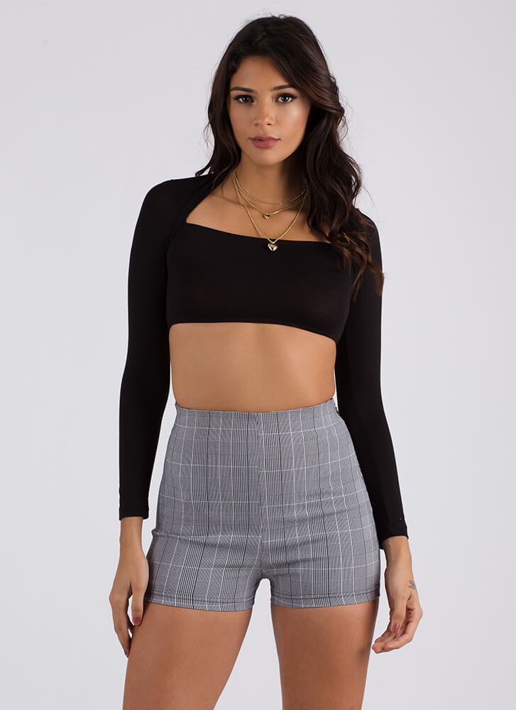Grid Luck High-Waisted Plaid Shorts BLACKWHITE