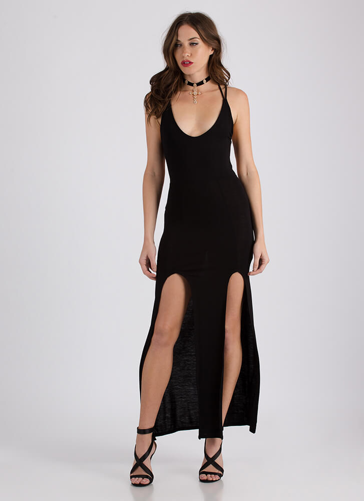 All Legs Double Slit Strappy Back Maxi BLACK