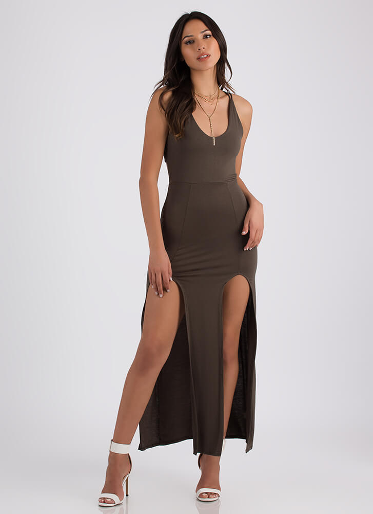 All Legs Double Slit Strappy Back Maxi OLIVE