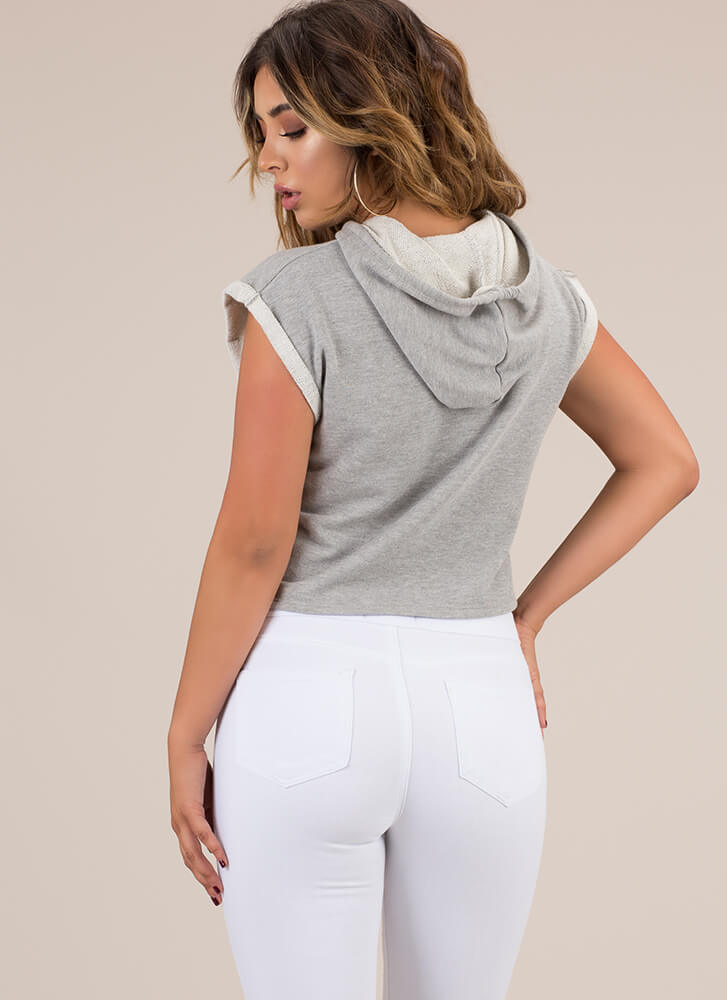 It's Cool Sleeveless Cropped Hoodie HGREY