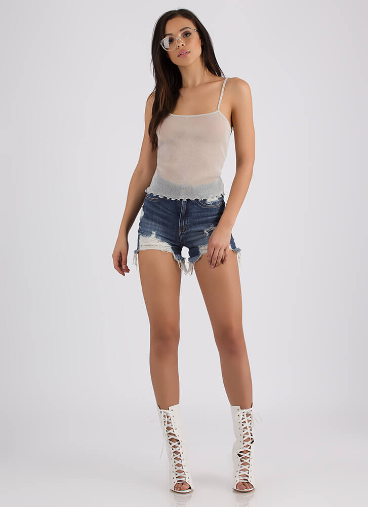 Sparks Fly Frilly Mesh Cami Tank Top OFFWHITE