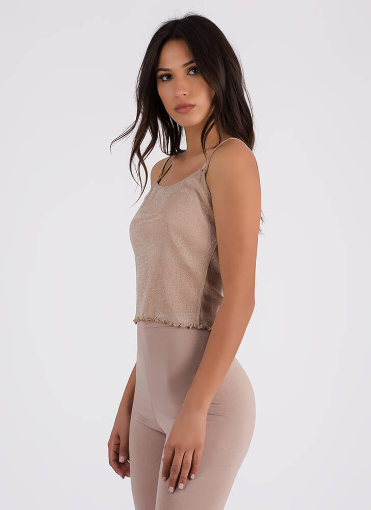Sparks Fly Frilly Mesh Cami Tank Top TAUPE