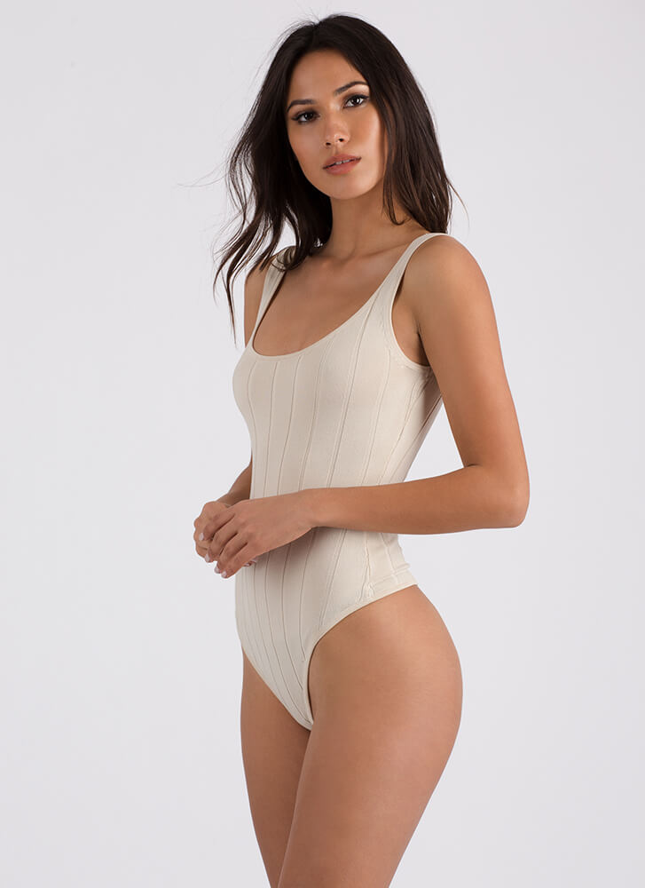 Tanks A Lot Ribbed Thong Bodysuit TAUPE