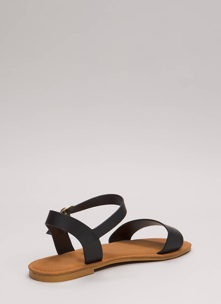 Just Coasting Faux Leather Sandals BLACK