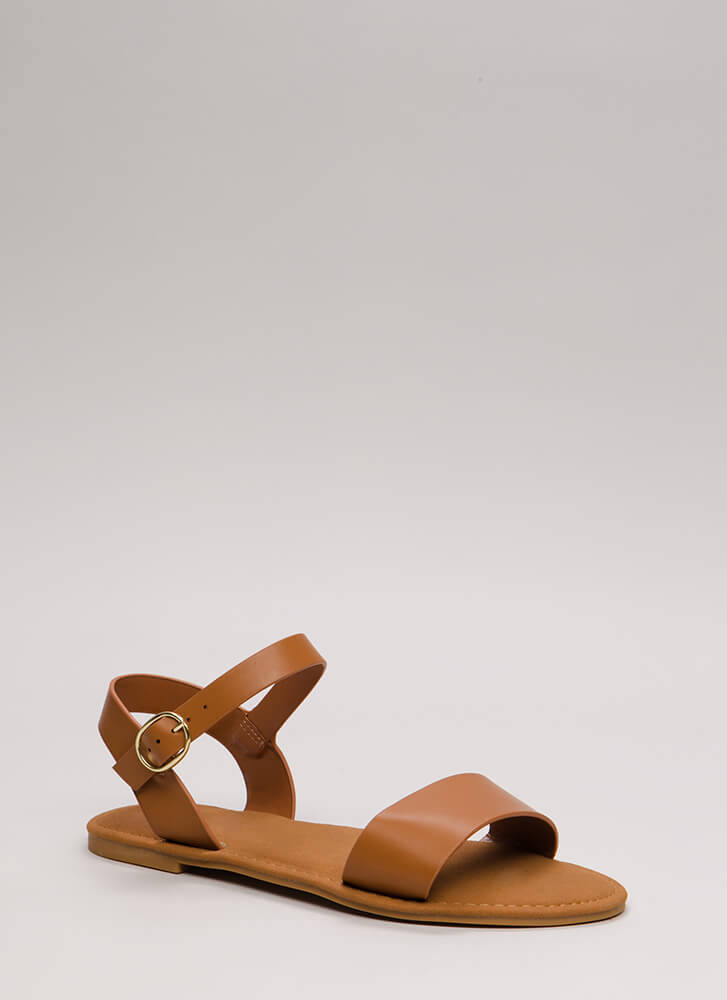 Just Coasting Faux Leather Sandals TAN