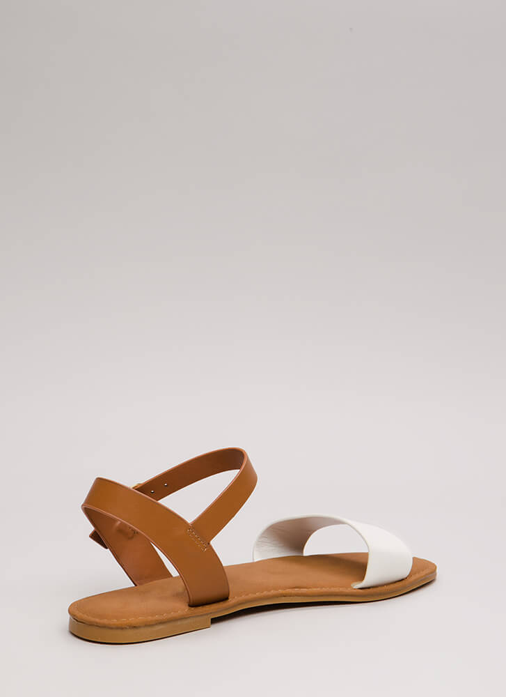 Just Coasting Faux Leather Sandals WHITE