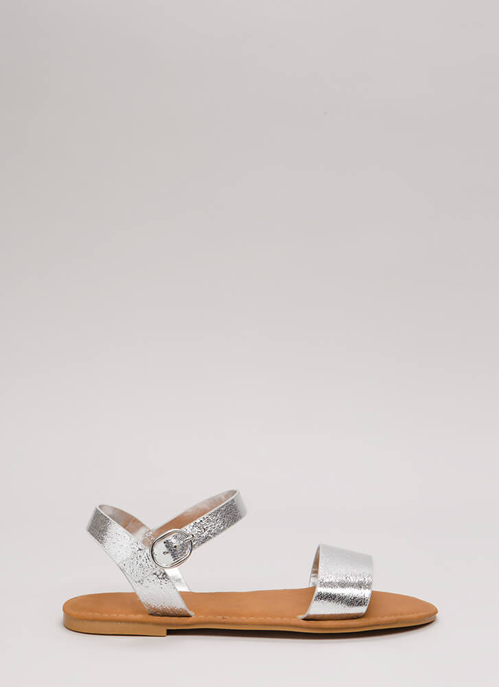 Just Coasting Metallic Foiled Sandals SILVER