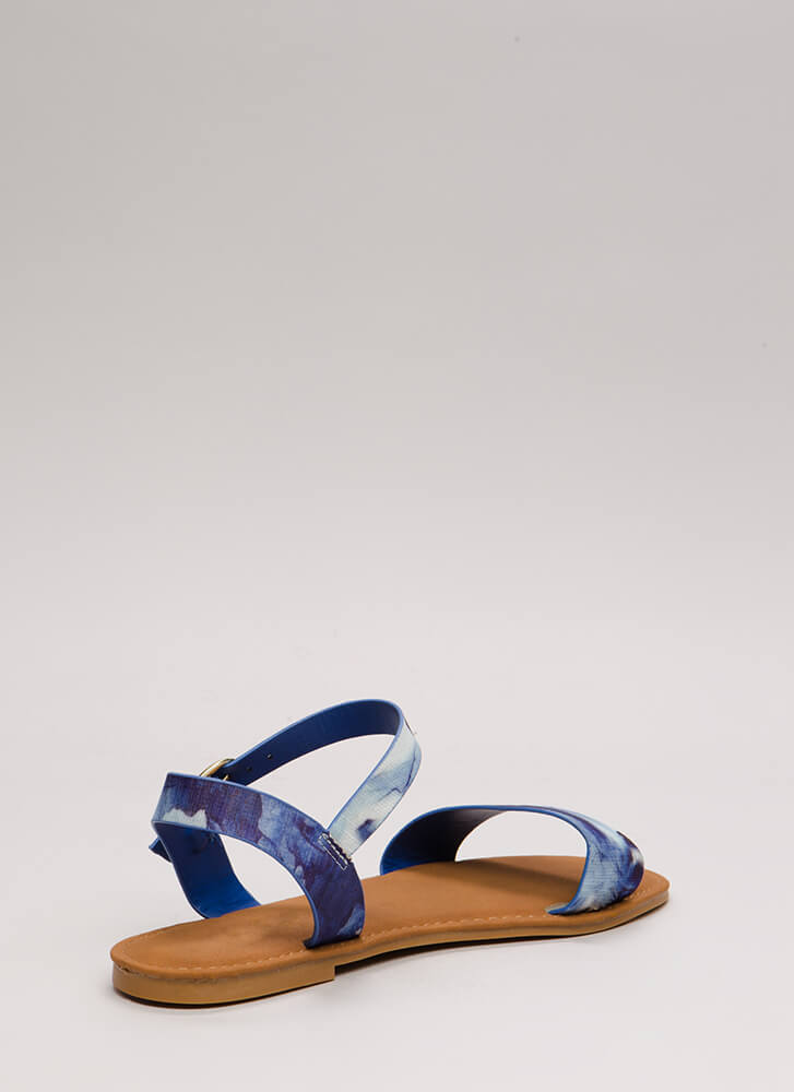 Just Coasting Floral Print Sandals BLUEMULTI
