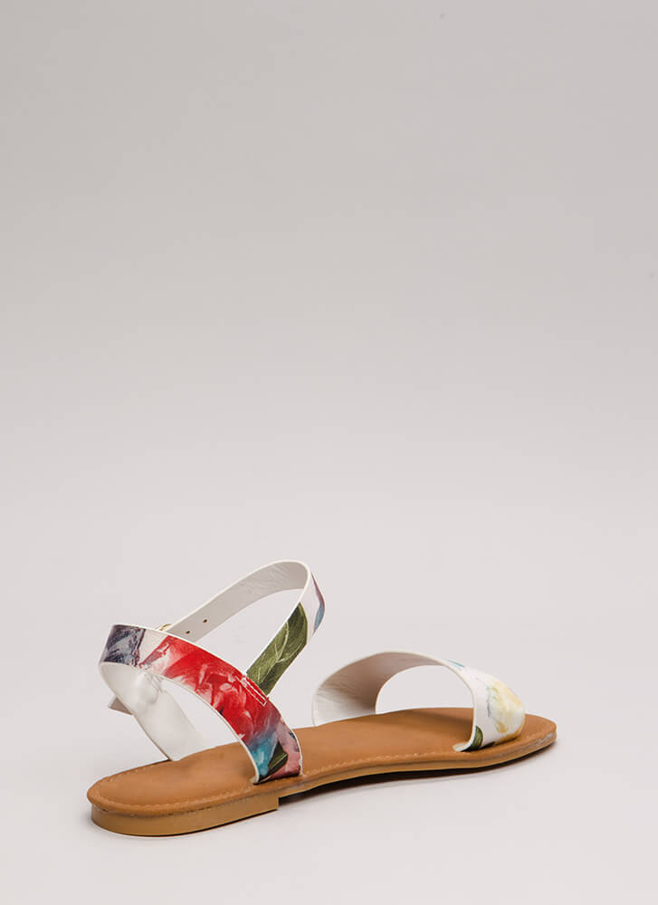 Just Coasting Floral Print Sandals WHITEMULTI