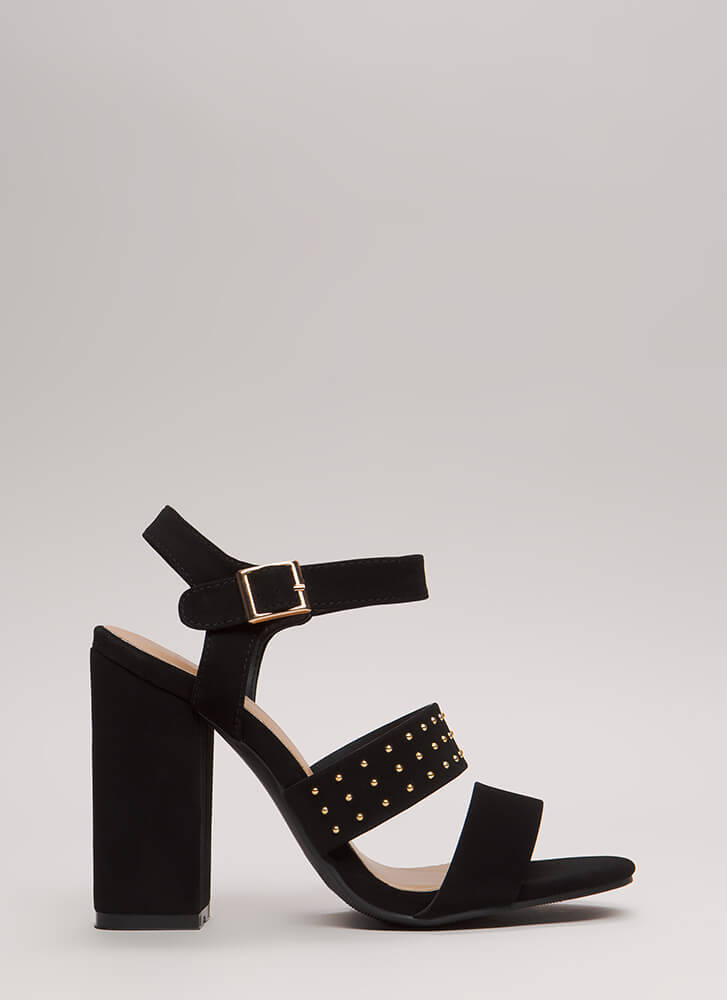 Fashion Influencer Chunky Studded Heels BLACK