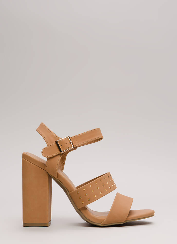 Fashion Influencer Chunky Studded Heels CAMEL