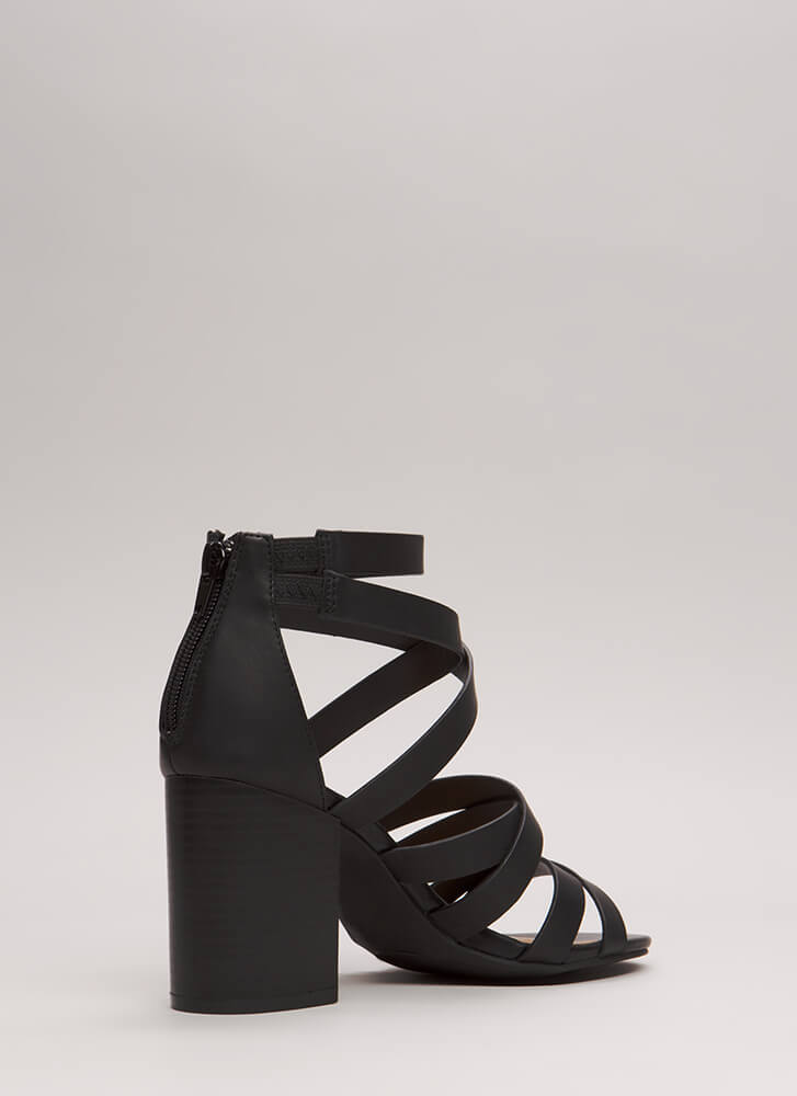All About Straps Chunky Caged Heels BLACK