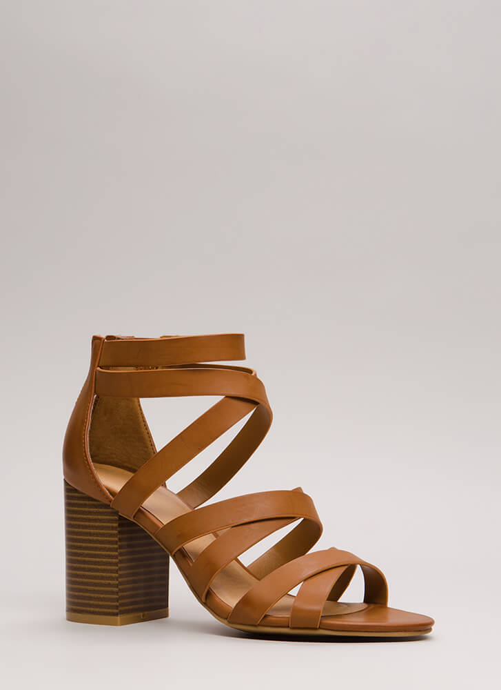 All About Straps Chunky Caged Heels NATURAL