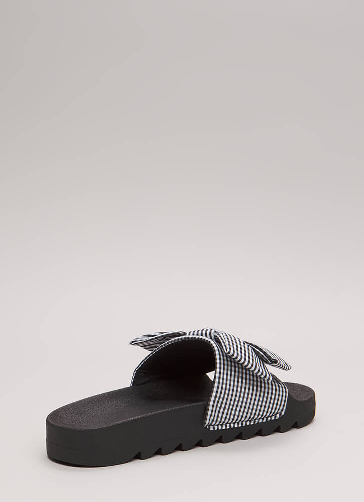 Bow My Gingham Platform Slide Sandals BLACK