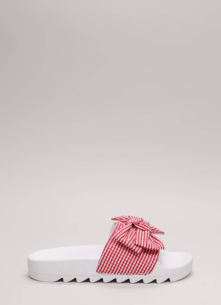 Bow My Gingham Platform Slide Sandals RED