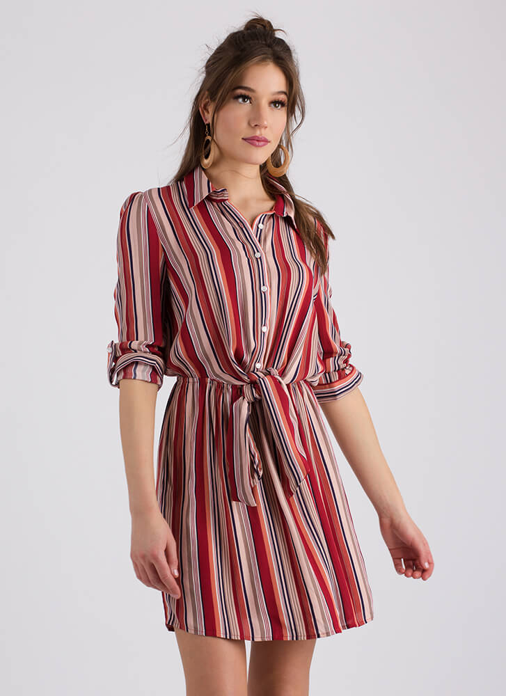 Tie-Waisted Knotted Striped Shirt Dress RED (Final Sale)