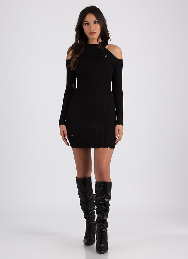 Bitten Distressed Cold-Shoulder Dress BLACK