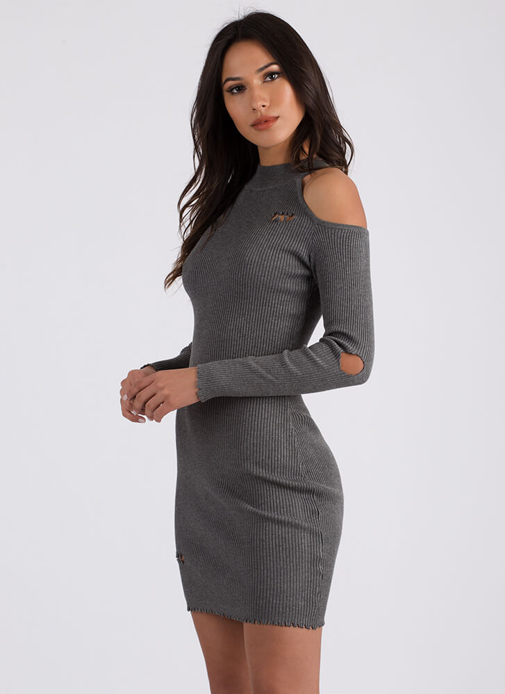 Bitten Distressed Cold-Shoulder Dress HGREY