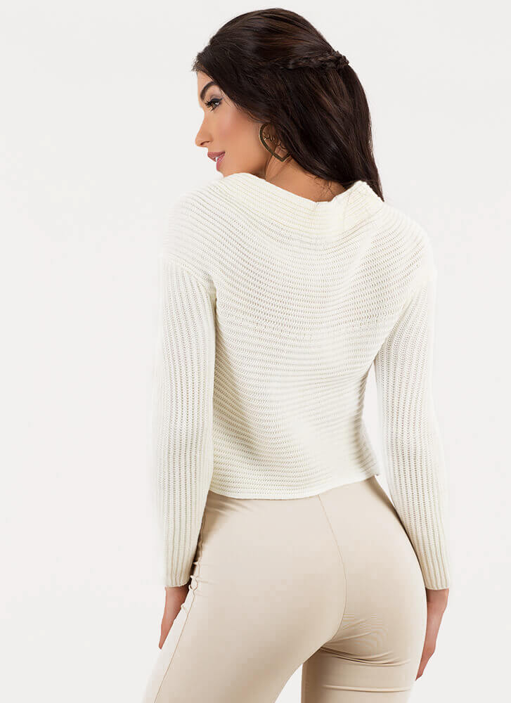 All Wrapped Up Rib Knit Sweater IVORY
