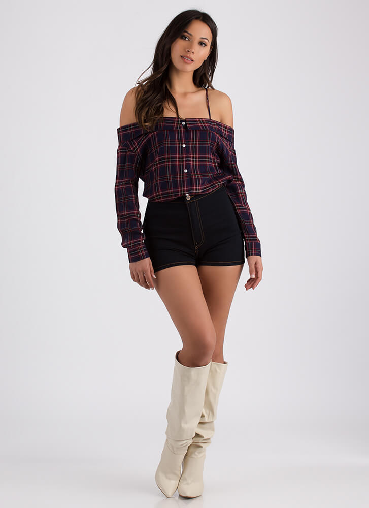 Plaid Rush Off-Shoulder Button-Up Top NAVY