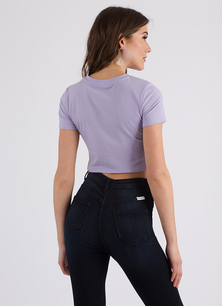 Knot Letting Go Rib Knit Crop Top LAVENDER