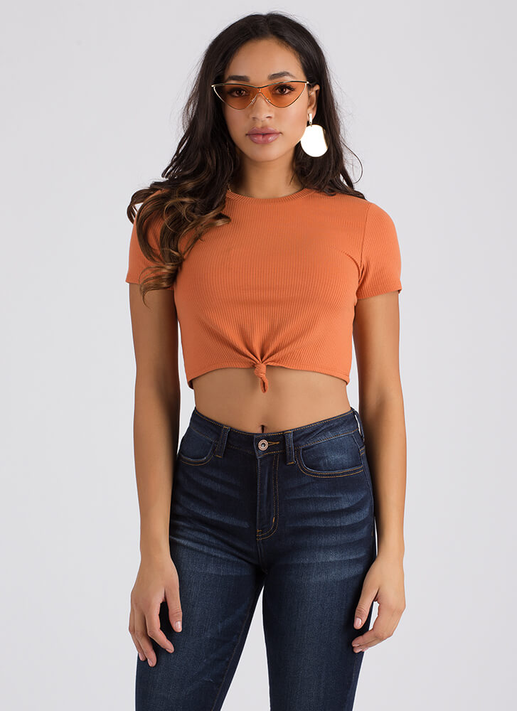 Knot Letting Go Rib Knit Crop Top RUST