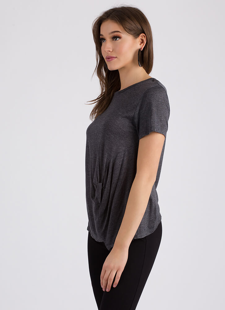 Tie The Knotted Asymmetrical Top CHARCOAL (Final Sale)