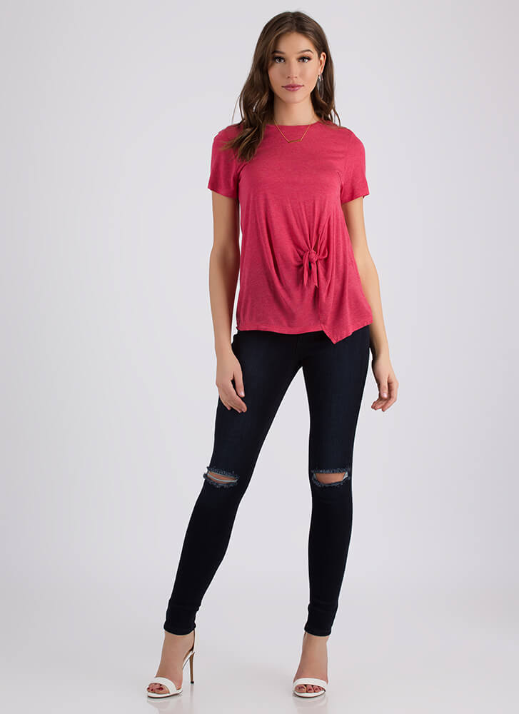 Tie The Knotted Asymmetrical Top HOTCORAL