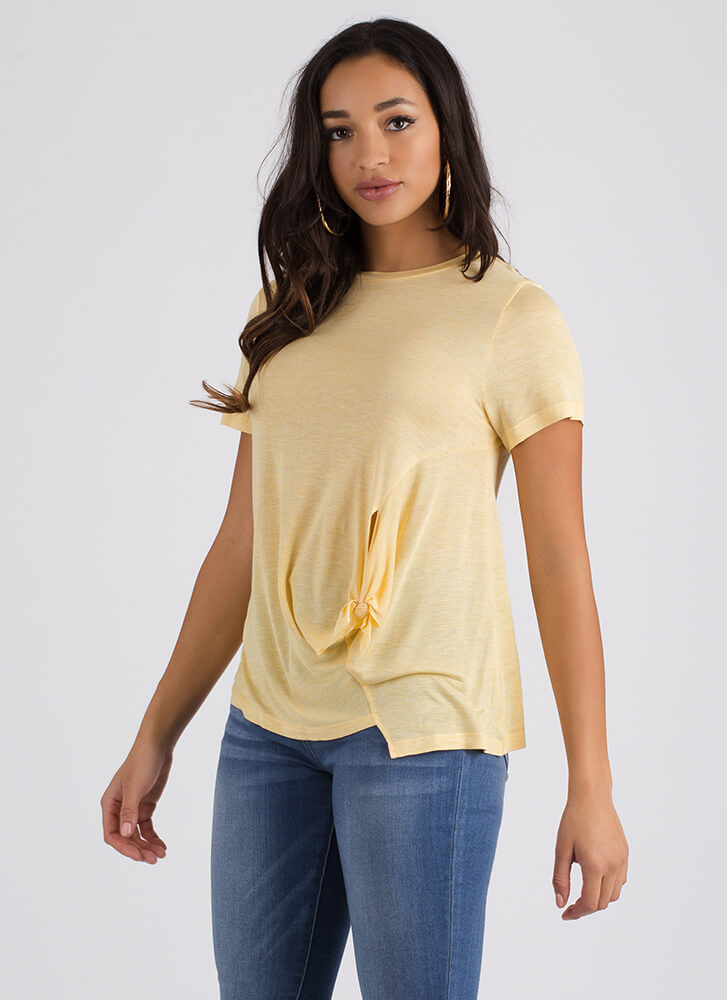 Tie The Knotted Asymmetrical Top YELLOW (Final Sale)