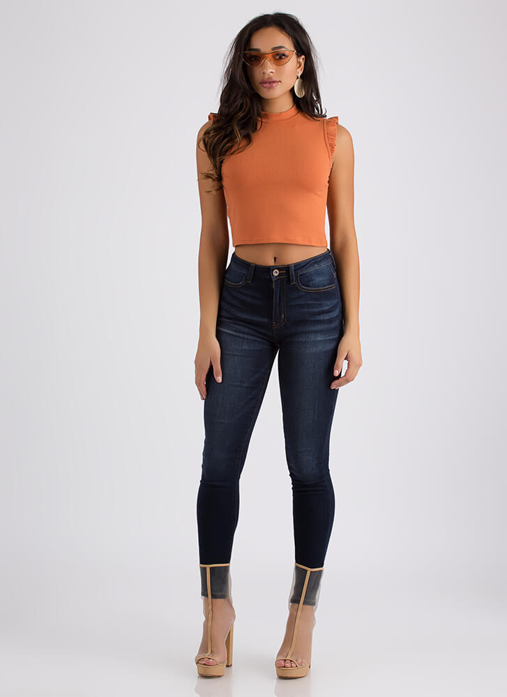 Winging It Ruffled Cropped Tank Top RUST