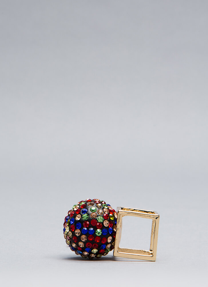 Disco Ball Jeweled Cube Ring GOLDMULTI