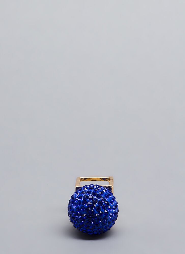 Disco Ball Jeweled Cube Ring GOLDSAPPHIRE