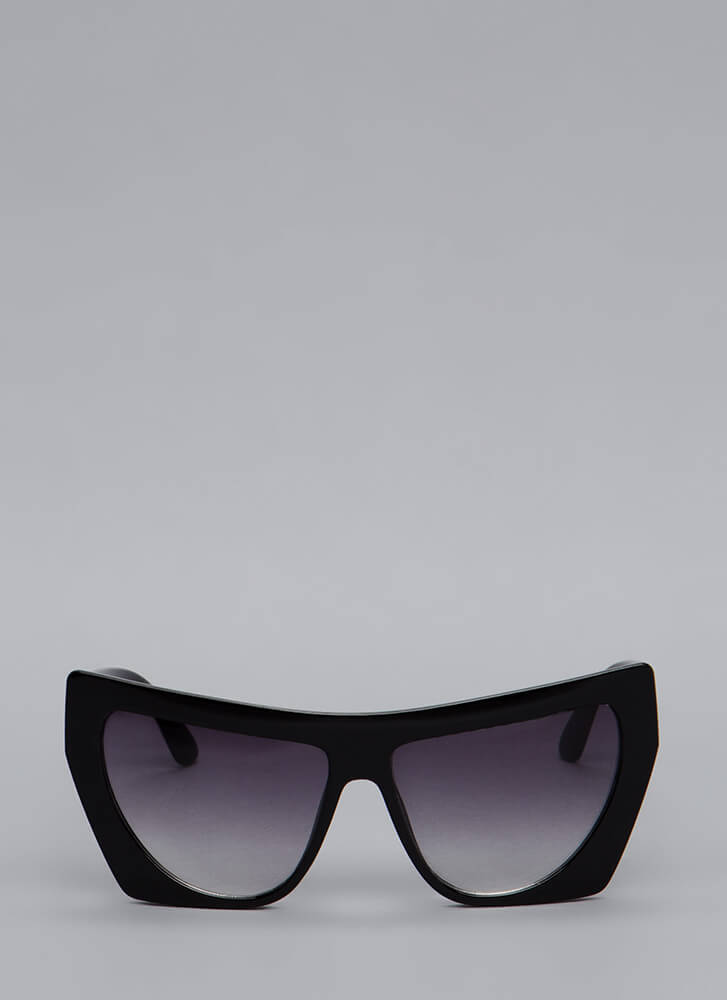 Square Off With Me Oversized Sunglasses BLACK