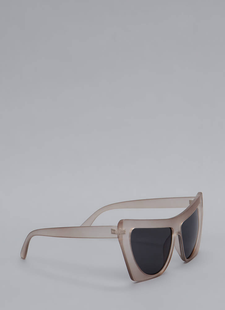 Square Off With Me Oversized Sunglasses TAUPE