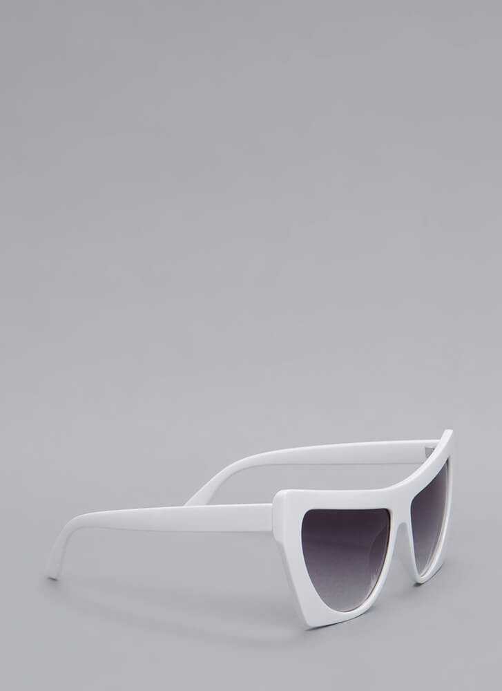 Square Off With Me Oversized Sunglasses WHITE