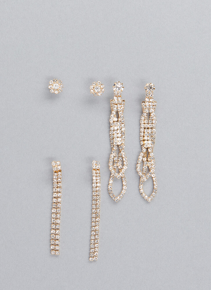 Such Sparkle Rhinestone Earring Set GOLD