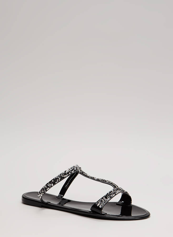 Sparkles Ignite Jeweled Jelly Sandals BLACK