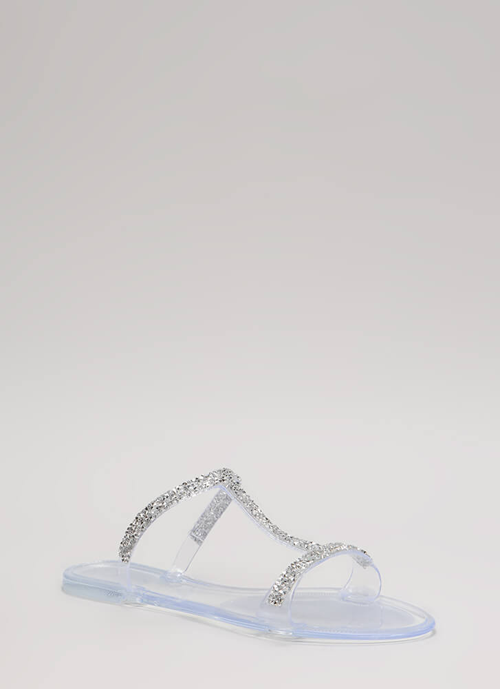 Sparkles Ignite Jeweled Jelly Sandals CLEAR