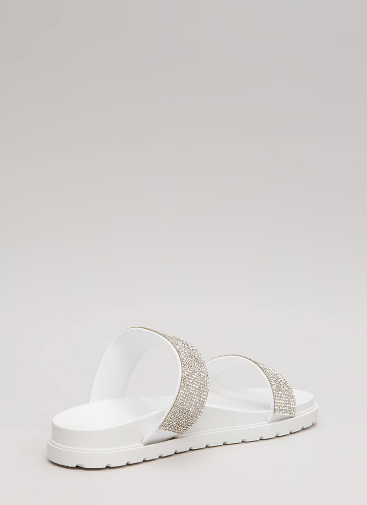 Sparkly Stroll Jeweled Slide Sandals WHITEWHITE (Final Sale)