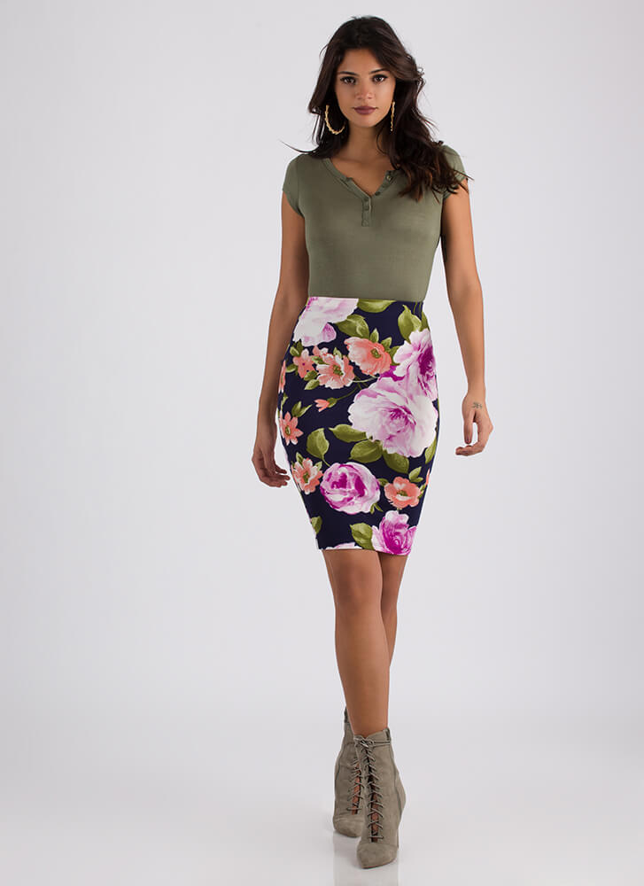 Cute As A Button Short-Sleeved Top OLIVE
