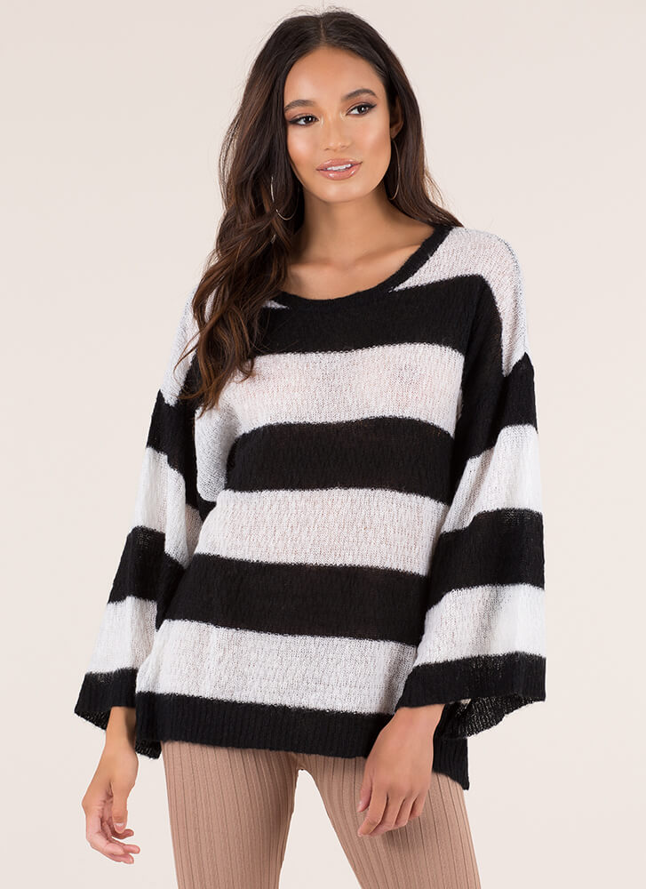 Feeling Relaxed Striped Knit Sweater BLACKWHITE