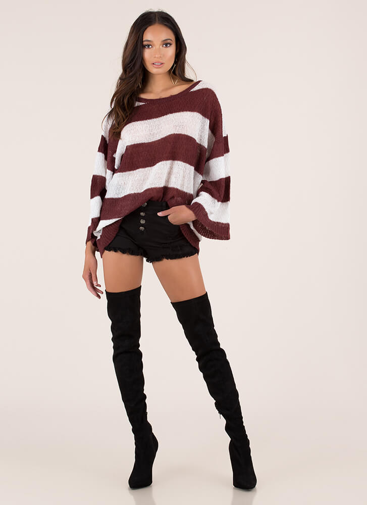 Feeling Relaxed Striped Knit Sweater BURGUNDYWHT