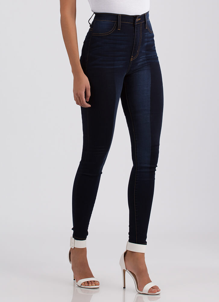 Wash Over Me Two-Toned Skinny Jeans DKBLUE