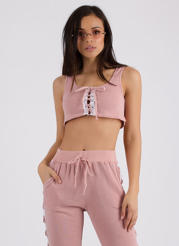 Choosing Sides Lace-Up Crop Top MAUVE