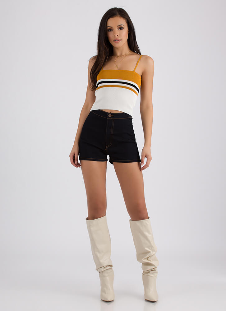 Cute And Casual Striped Knit Crop Top MUSTARD