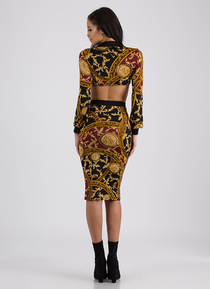 If It Ain't Baroque Top And Skirt Set BLACKMULTI