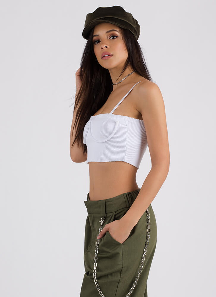 So Busted Underwire Cropped Tank WHITE