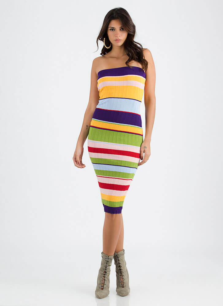 Living In Color Striped Tube Dress MULTI